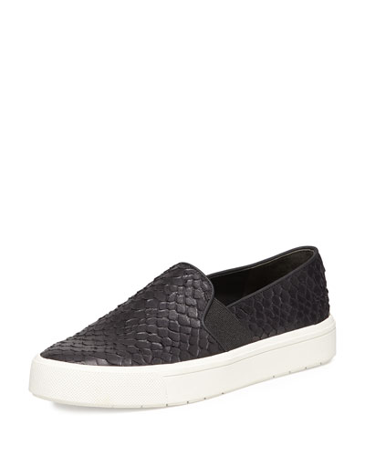 Berlin Embossed Leather Slip-On Sneaker, Black