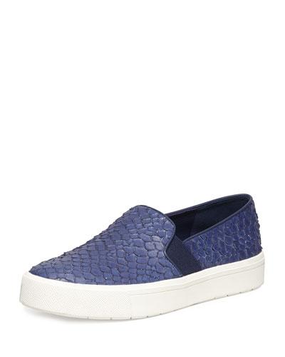 Berlin Embossed Leather Slip-On Sneaker, Blue Marine