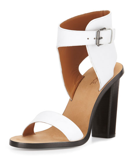 Nicole Leather Ankle-Cuff Sandal, Optic White