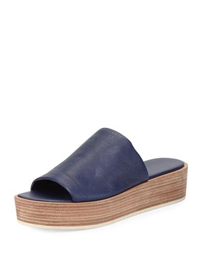 Saskia Platform Wedge Sandal, Blue Marine