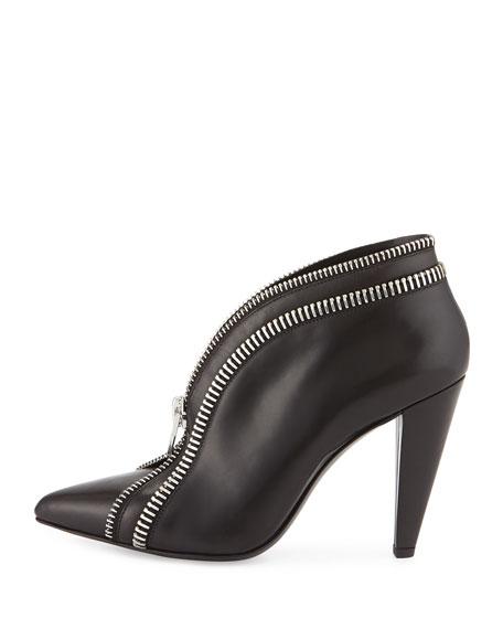 Kendal Leather Zip Bootie, Black