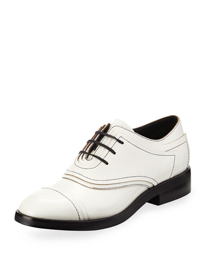 Elle Layered Leather Oxford, Optic White