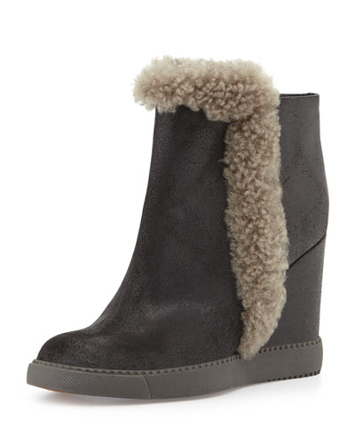 Shearling-Trimmed Wedge Bootie, Black