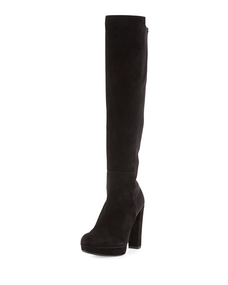 Stuart Weitzman Demistrong Suede Over-the-Knee Boot, Black