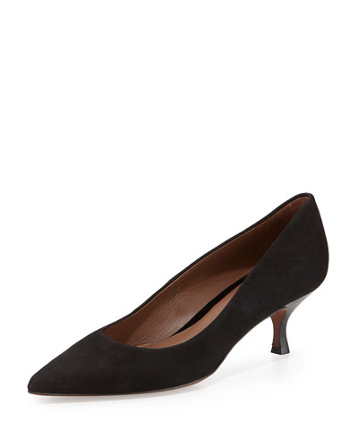 Rome Suede Low-Heel Pump, Black