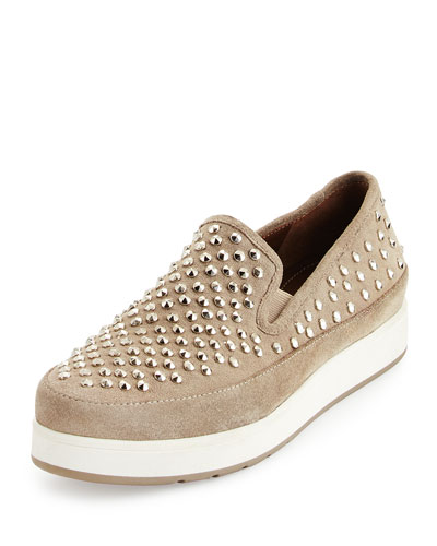 Mickey Studded Suede Sneaker, Taupe