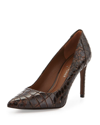 Presli Crocodile-Embossed Pump, Chestnut