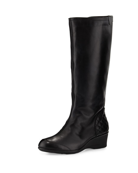 Arst Waterproof Wedge Knee Boot, Black