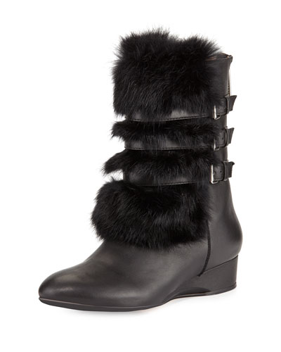 Fritzy Fur Demi-Wedge Boot, Black
