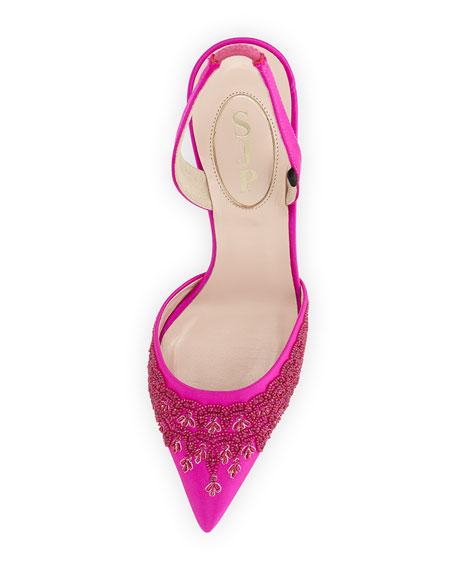 Josephine Beaded Slingback Sandal, Pink