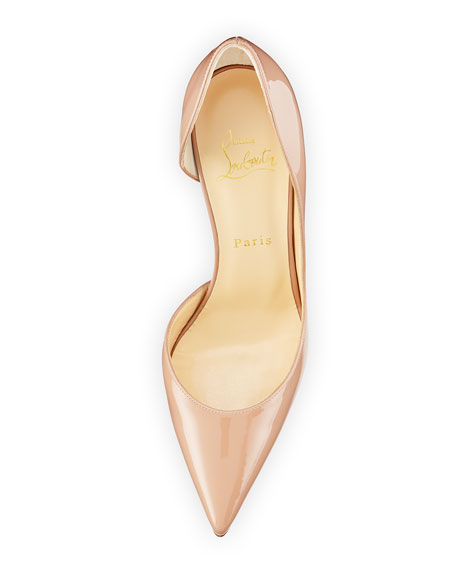 boutin shoes - Christian Louboutin Iriza Half-d'Orsay Patent Red Sole Pump, Nude