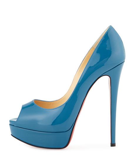Lady Peep Patent Platform Red Sole Pump, Blue