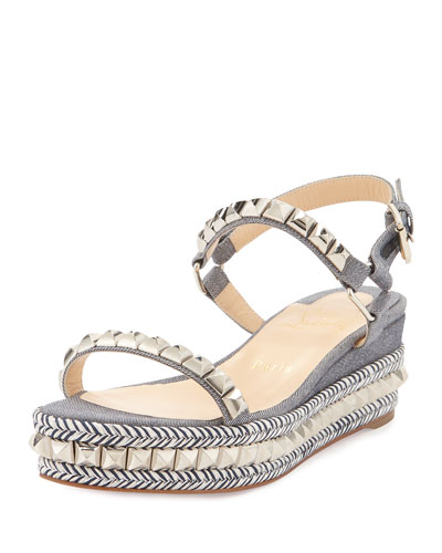 Cataclou Studded Twill Platform Espadrille, Light Blue