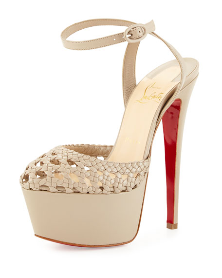 louboutin knockoffs - Christian Louboutin Woven Leather Platform Red Sole Sandal, Taupe