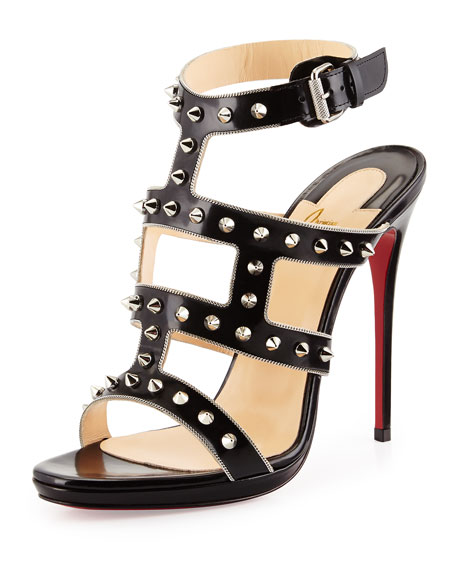 Christian LouboutinSexystrapi Jazz Studded-Zip Red Sole Pump,