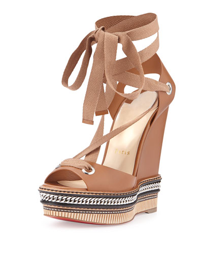 Tribuli Espadrille Red Sole Wedge Sandal, Brown