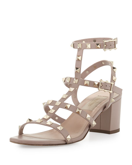 Valentino Rockstud Chunky-Heel Sandal, Black