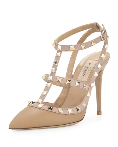 Rockstud Leather T-Strap Pump, Alpaca