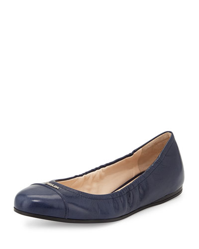 Scrunched Leather Ballet Flat, Blue (Bluette)