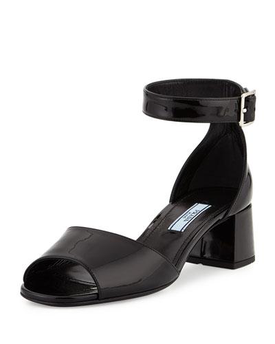 Patent Mid-Heel Sandal, Black (Nero)