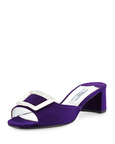 Jeweled-Buckle Suede Mule Slide Sandal, Violet (Viola)
