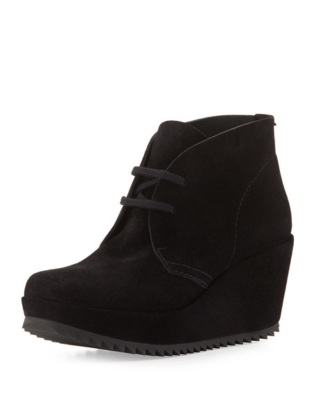 Febe Suede Wedge Bootie, Black