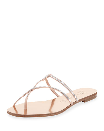 Estee Crystal-Studded Flat Sandal, Pyrite