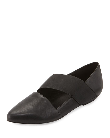 Eileen Fisher Lend Washed Leather Slip-On, Black
