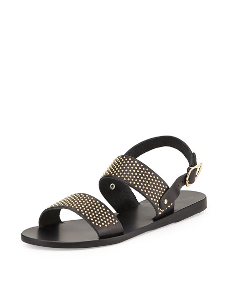 Dinami Studded Two-Band Sandal, Black