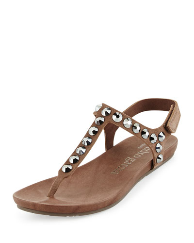 Judith Studded Suede Sandal, Tan