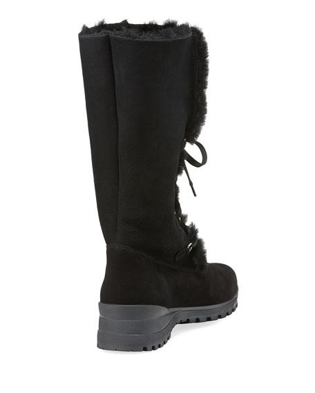 Annabella Shearling Fur-Lined Boot, Black