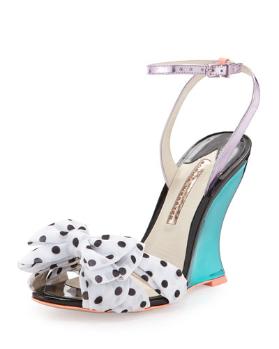 Melissa Polka-Dot Wedge Sandal, Rosa/Spearmint