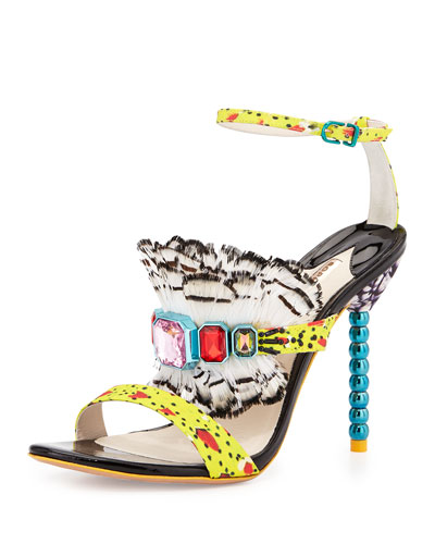 Rosalind Jeweled Feather Sandal, Yellow