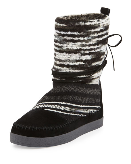 TOMS Nepal Striped Suede Boot, Black