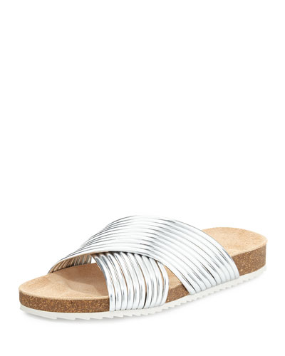 Petra Metallic Sandal Slide, Silver