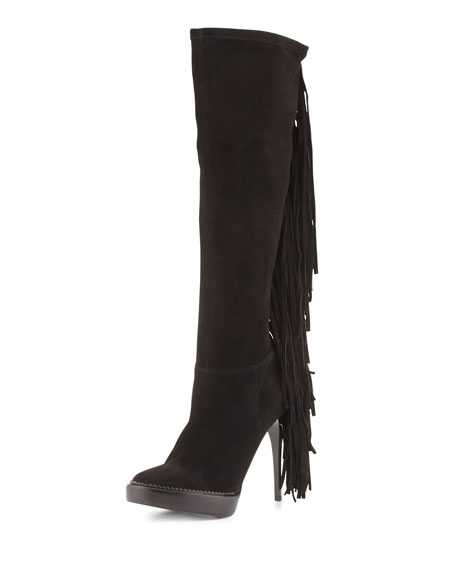 Burberry Caitlin Suede Fringe Knee Boot, Black