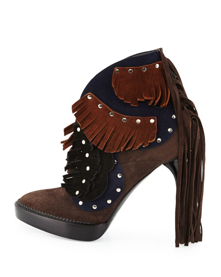 Lilybell Studded Fringe Bootie, Sepia Gray/Dark Canvas