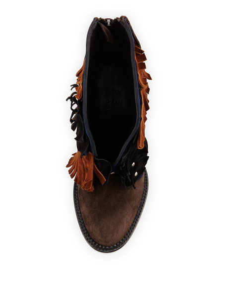 Burberry Lilybell Studded Fringe Bootie, Sepia Gray/Dark Canvas