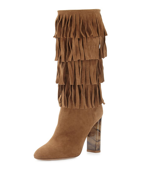 Burberry Jazmine Fringed Suede Boot, Walnut Brown