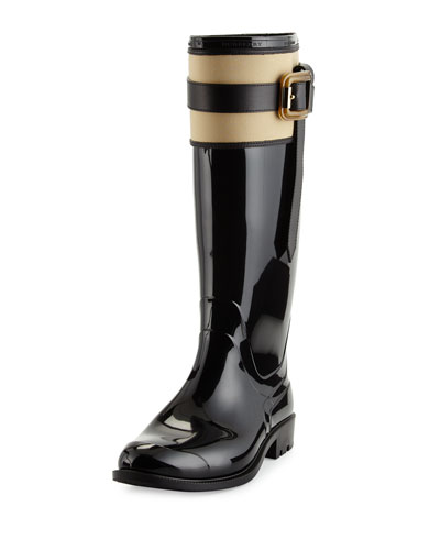 Wallswood Lined Rain Boot, Black/Honey