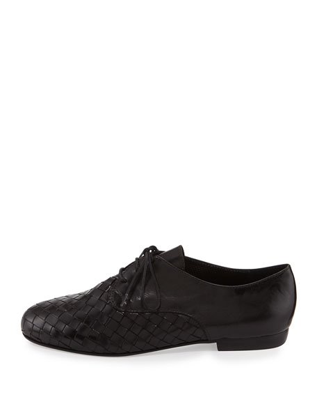 Naxos Woven Leather Oxford, Black