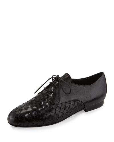 Naxos Woven Leather Oxford, Black