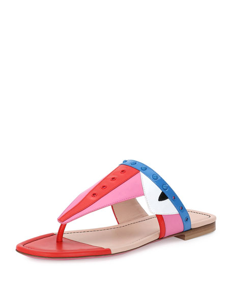 Fendi Bug Studded Monster-Face Sandal, Lollipop/Royal Blue