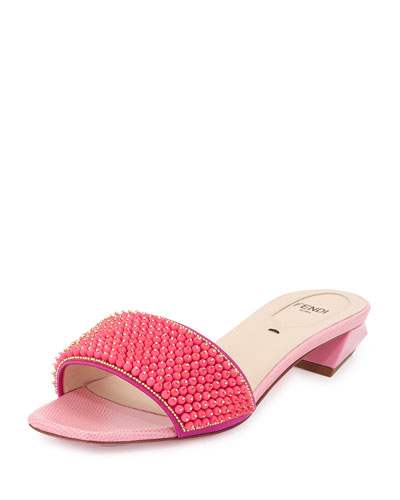 Fantasia Beaded Evening Sandal, Fluorescent Pink