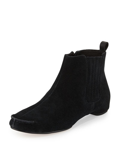 Belle Gored Suede Ankle Bootie, Black