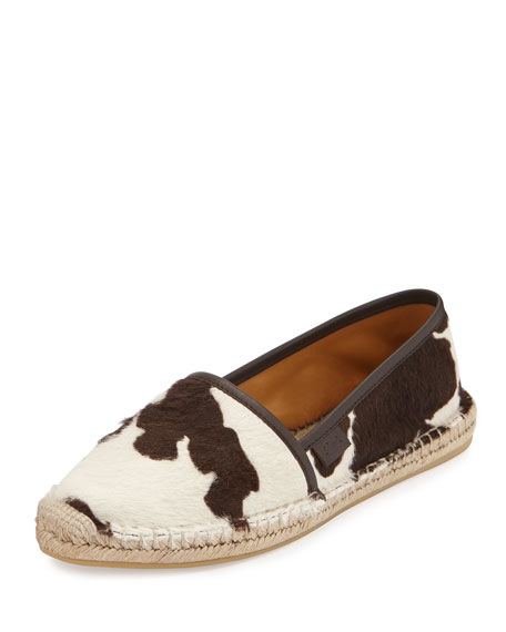 Gucci Calf-Hair Espadrille Flat, Brown