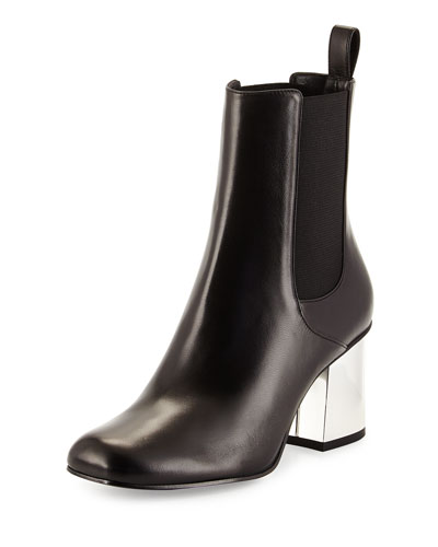 Leather Mirror-Heel Bootie, Black