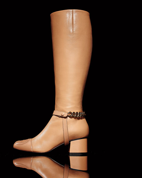Soho Chained Leather Knee Boot, Camel