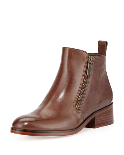 Oak Leather Ankle Bootie, Chestnut