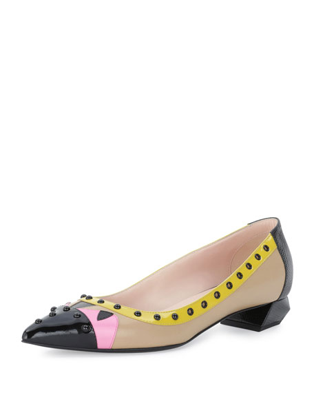 Fendi Bug Colorblock Ballerina Flat, Cuoio/Lollipop/Pink